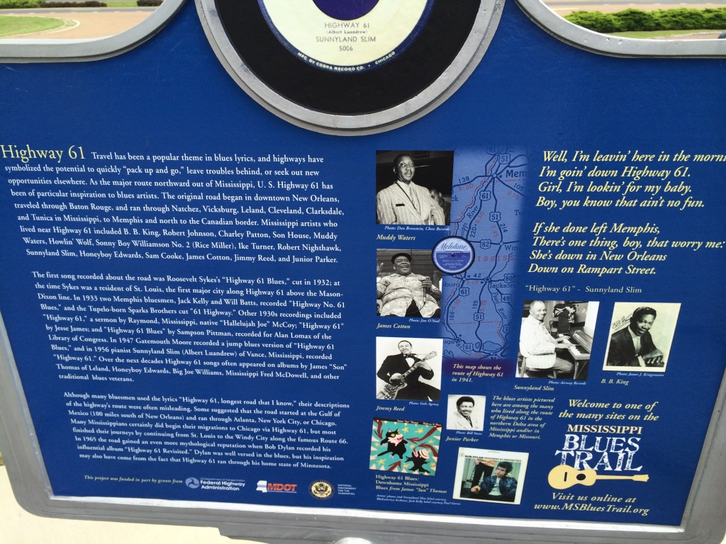 The Blues Highway Marker at the Gateway to the Blues.  One of dozens of markers along the US 61 and neighboring towns.