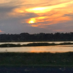 Wetlands and sunset as seen on TX 124 south of Winnie, TX