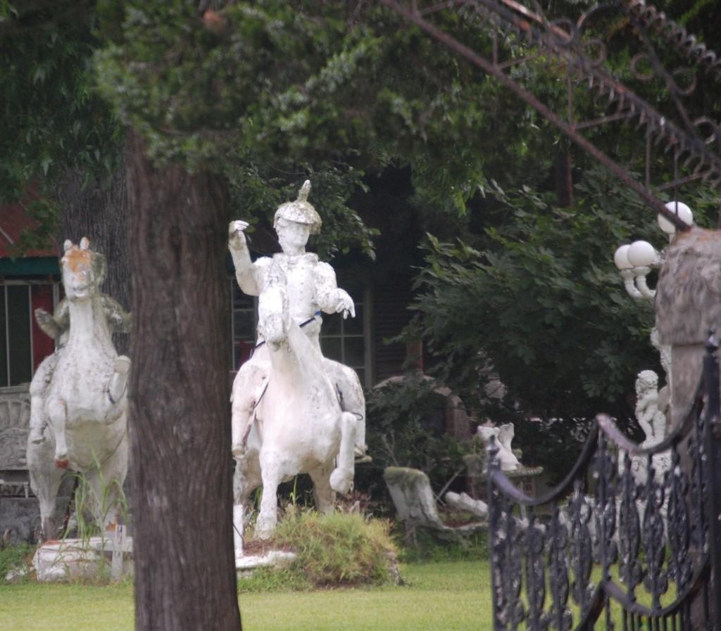 Royal Statues of riders inside the fences of Pignataro Estate in Santa Fe, Texas