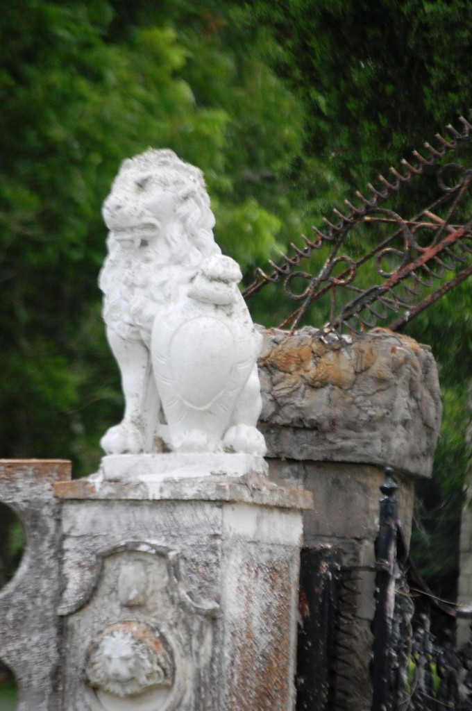 Lion Fencepost at Pignataro Estate in Santa Fe, Texas