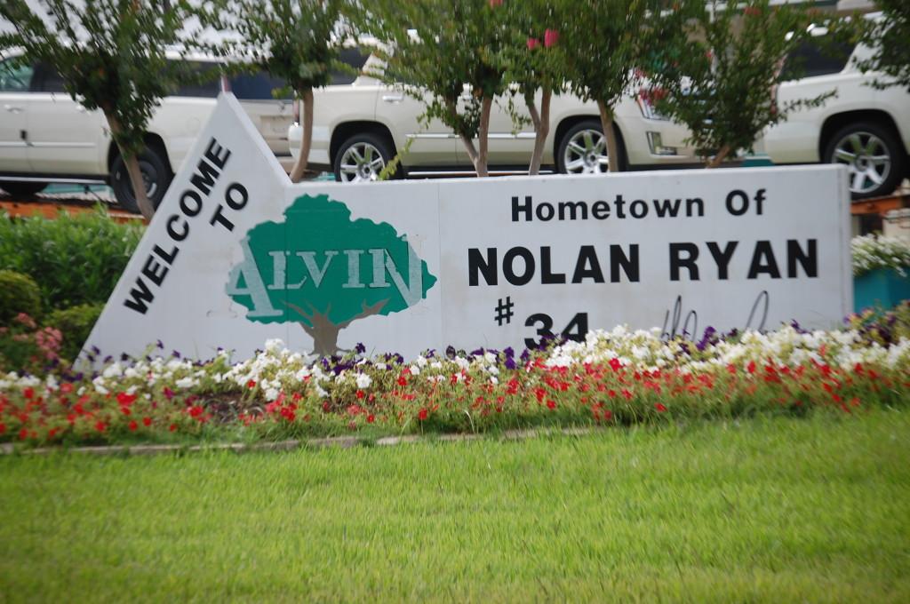 Welcome to Alvin, Texas, hometown of Nolan Ryan