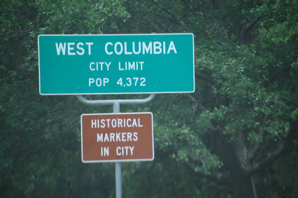 Entering West Columbia, TX with the note that there are historical markers in town