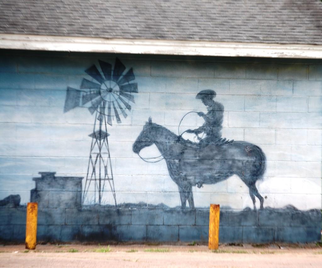 Mural on a wall in Damon, TX