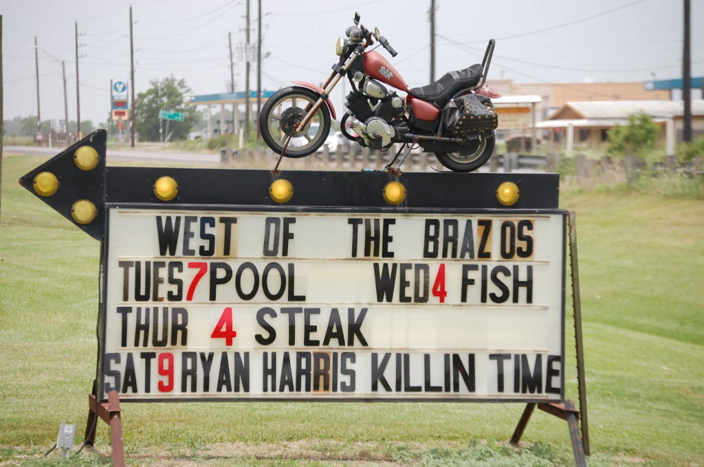 West of the Brazos Bar and Grill sign in Damon, TX