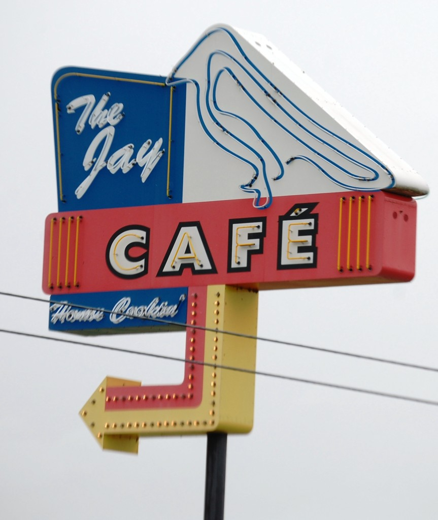 The Jay Cafe in Needville, Texas.  Vintage neon sign