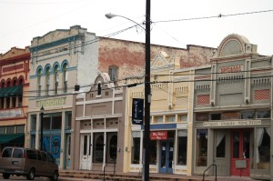 Buildings in downtown Wharton, TX