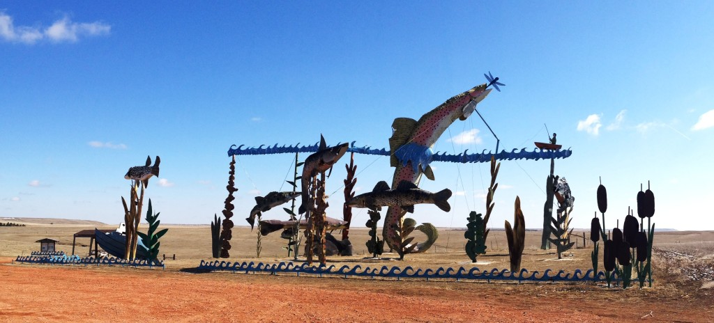 Fisherman's Dream, one of the many Ginormous scrap metal sculptures on the Enchanted Highway