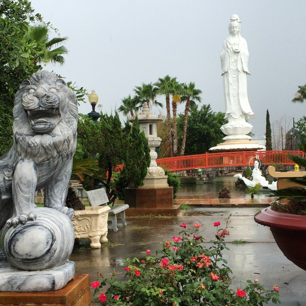 View of the Gardens and Quan Am statue at Vietnamese Buddhist Center