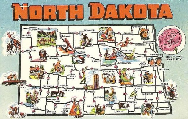 North Dakota Map from 1958