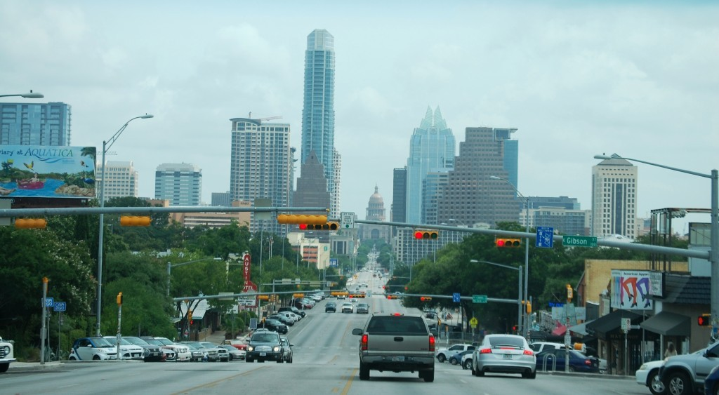 "Austin Cityscape including the Frost Bank Tower -- the ""Owl Building"" (due to the shape of the top of the building)"
