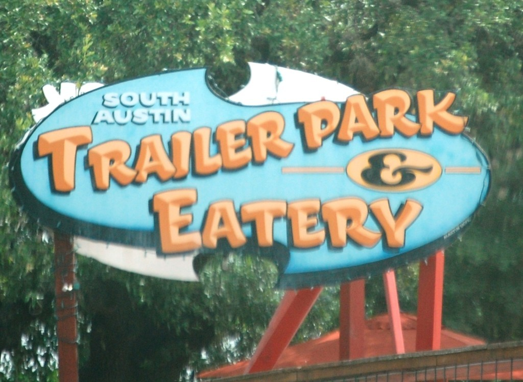 """Trailer Park Eatery in Austin -- a hybrid """"food truck"""" type of place comprised of trailers that are actually like food trucks"""
