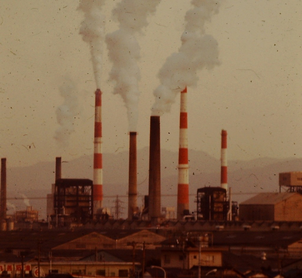 Industry abounded everywhere. These are the smoke stacks in Fuji City, a major paper producer (ca 1978)