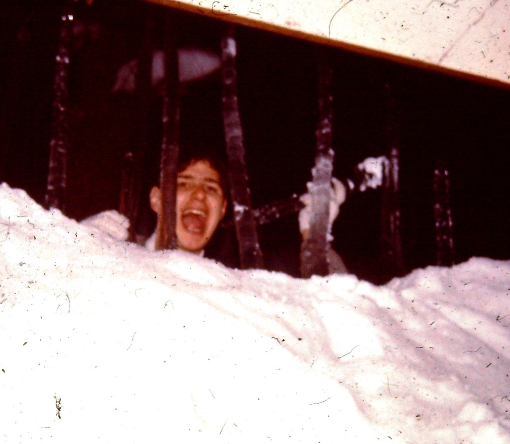 Trapped by snow and icicles in Fukui, Japan. (ca winter 1976/77)
