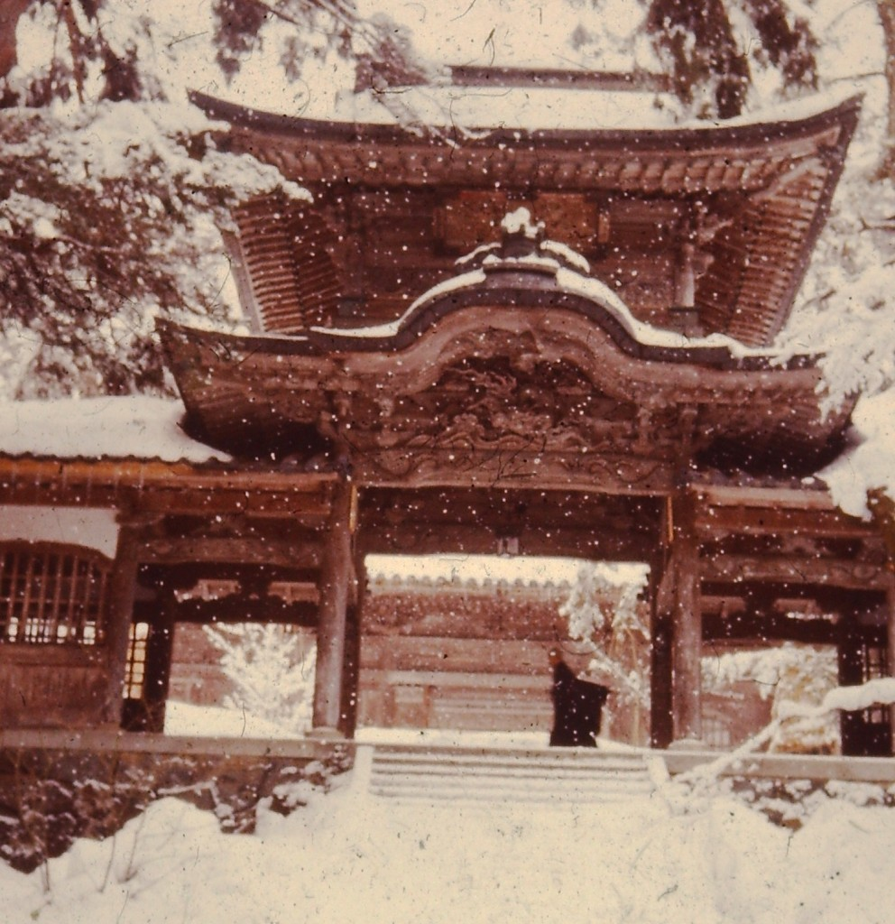 Main gate to Eiheiji. Note the monk walking across.  He was barefoot. (ca 1976).
