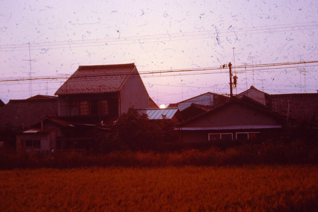 Typical Neighborhood in Japan.  This was a sunset in Ogaki (ca 1977)