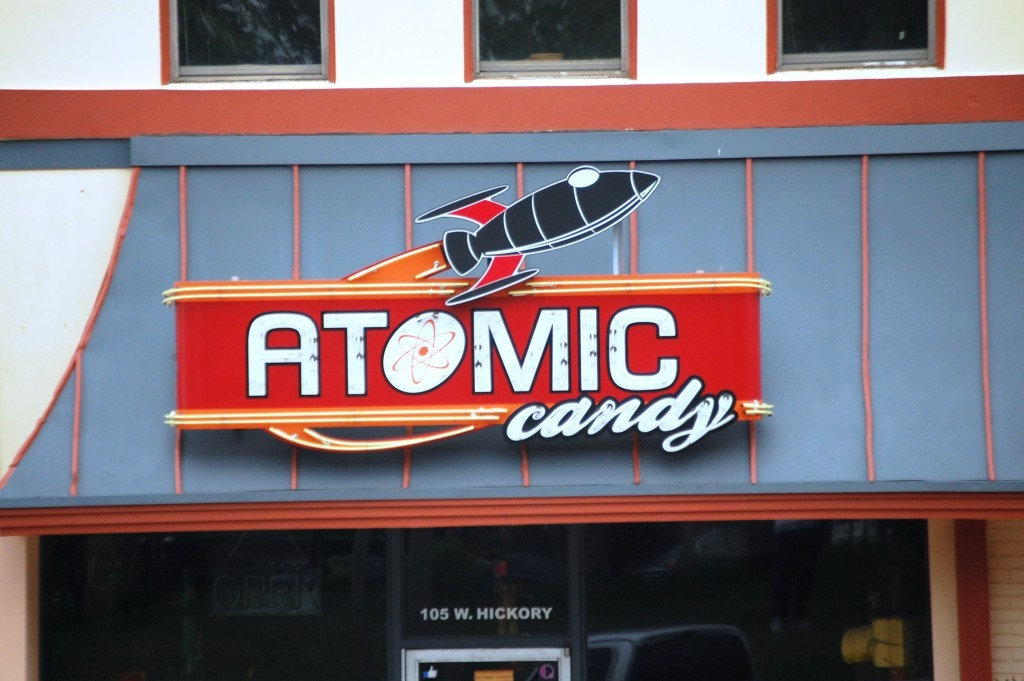 Atomic Candy Neon Sign in Denton, TX