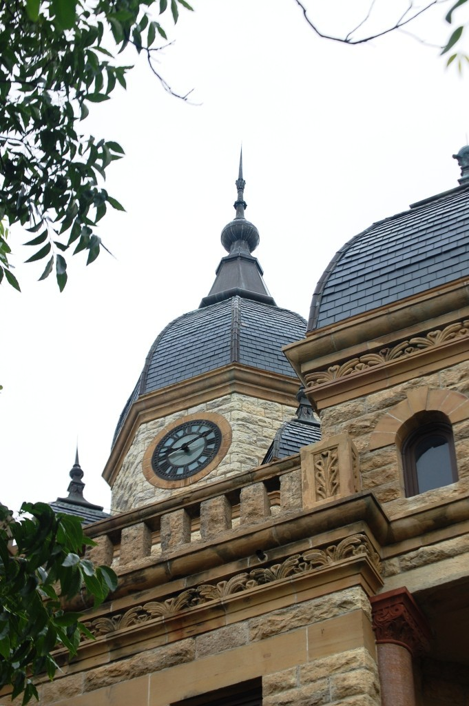 A view of the Romanesque tower on the county courthouse