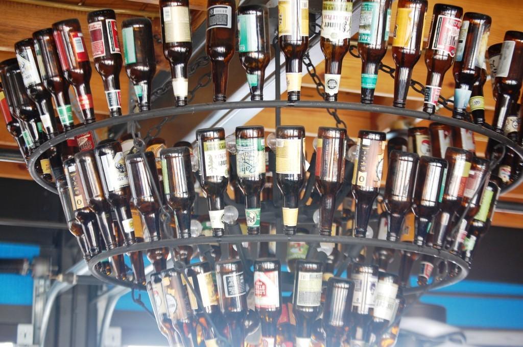 Beer bottle chandelier at LSA Burger Co.