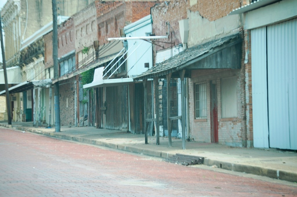 Entire street of buildings is rundown in Honey Grove, TX