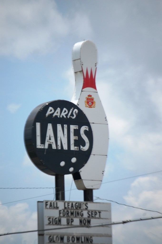 Paris Lanes, old bowling alley neon sign