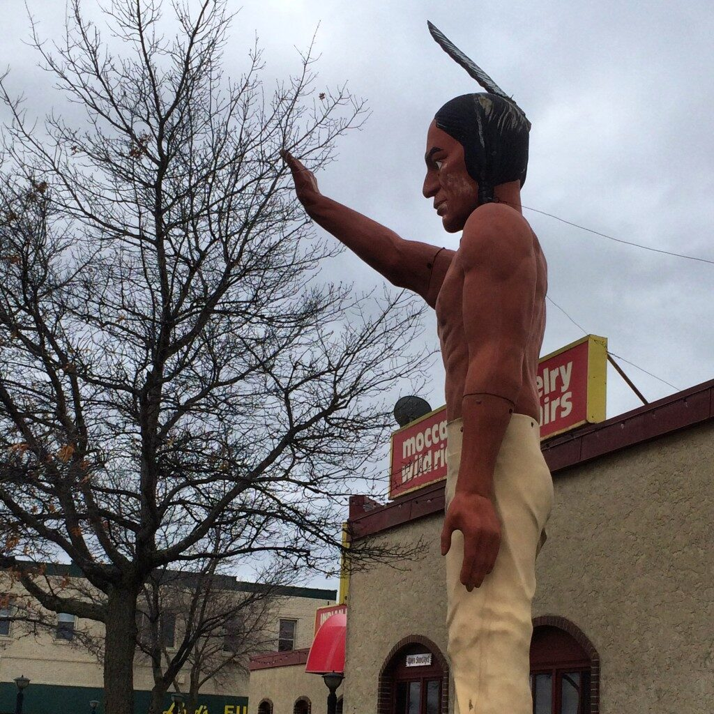 Big Indian in Bemidji, MN in front of a souvenir shop