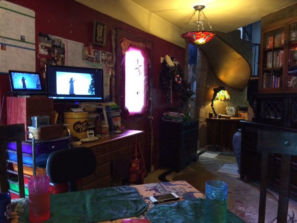A view of the inside of Tui Snider's home.  Note the image on the monitor...she was finishing up her Paranormal book at the time.