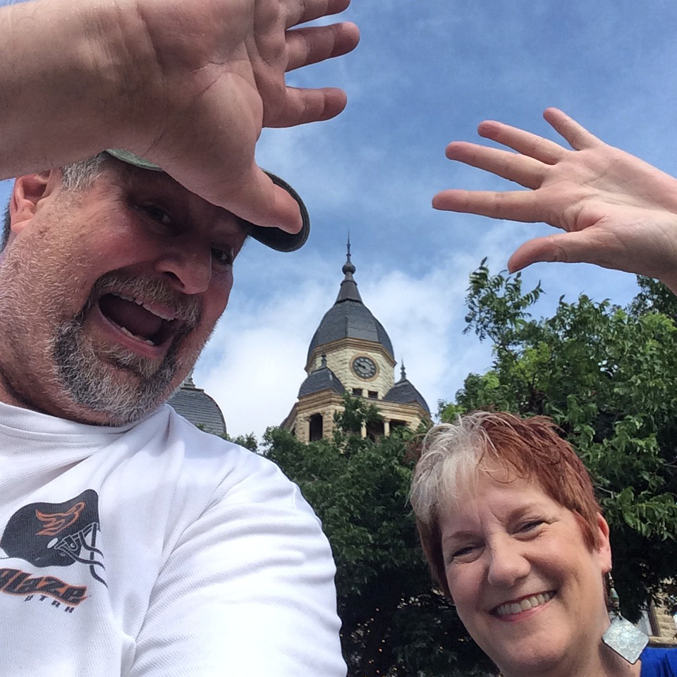 Sumoflam with Shelly Tucker in front of the historic Denton County Courthouse