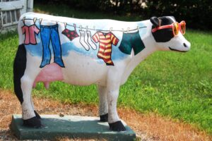 A colorful cow in sunglasses seen in Normal, IL