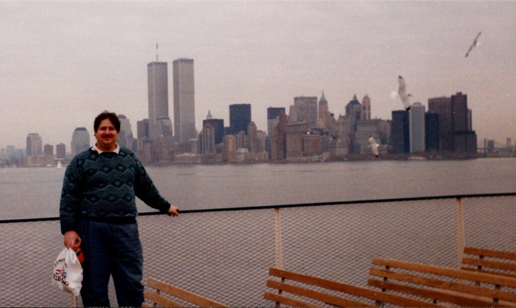 In New York City in 1990 before the World Trade Center Twin Towers met their demise