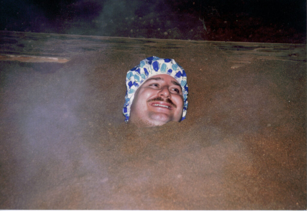 Then there are the Sand Baths, the Sawdust Baths and more.  I was buried in hot sand and it felt great.  Beppu in 1989