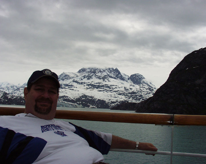 On a cruise ship enjoying the splendor of Alaska's beautiful mountains