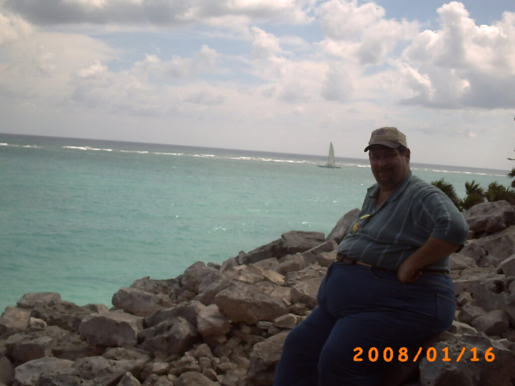 Enjoying the view of the Gulf of Mexico from the Yucatan Peninsula