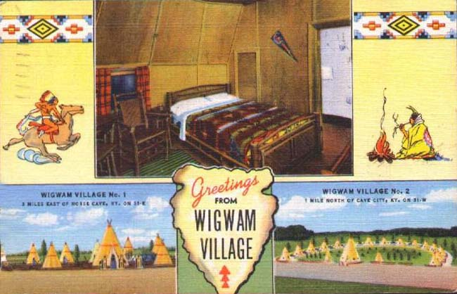 Old Wigwam Village post card advertising #1 and #2