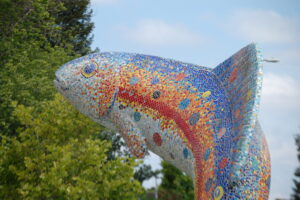 """Guardian of the Creek"" by Mario Uribe. In Santa Rosa's Prince Memorial Greenway"