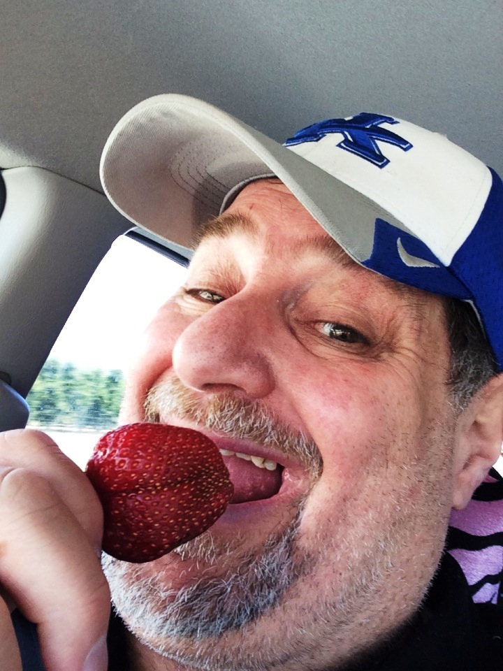 Sumoflam enjoying an amazing California strawberry