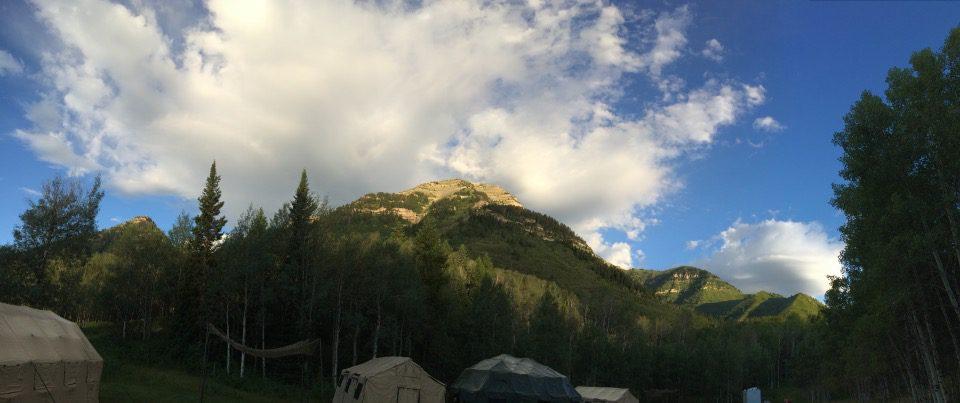 The SOT-G Base Camp in a meadow near Sundance resort