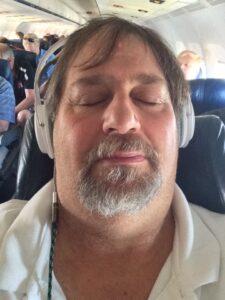 Sleeping on the plane to Dallas