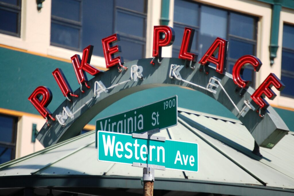 Pike Place Market entrance at Virginia and Western