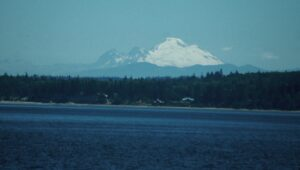 The snow covered volcano Mt. Baker, as seen from Hwy 104