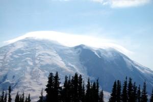 a Cloud cap forms on Mt. Rainier.
