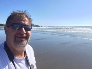 Standing on the beach at Mukkah Bay looking out to the Pacific Ocean