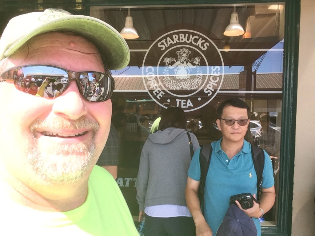 Grabbed a shot in front of the original Starbucks in Seattle. Line was a mile long
