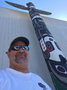 A totem pole in Neah Bay, WA