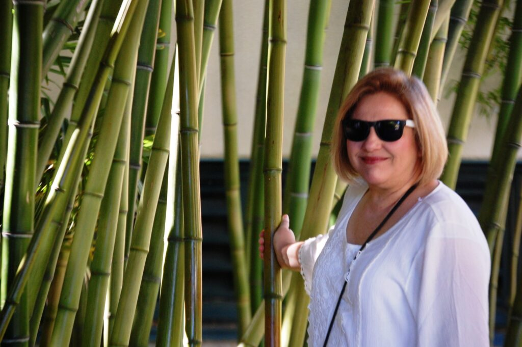 Julianne with bamboo