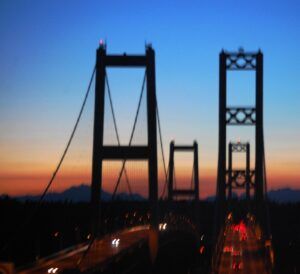 Sunset over Tacoma Narrows bridge