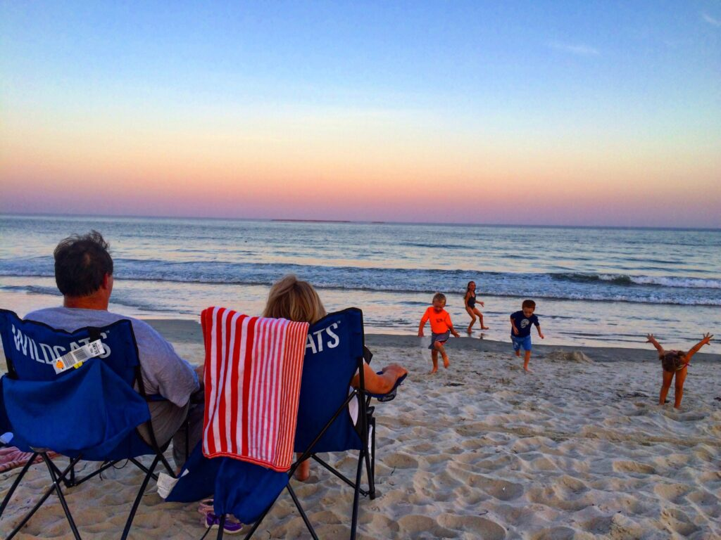 Enjoying the grandkidz on Old Orchard Beach on the Atlantic Ocean in Maine