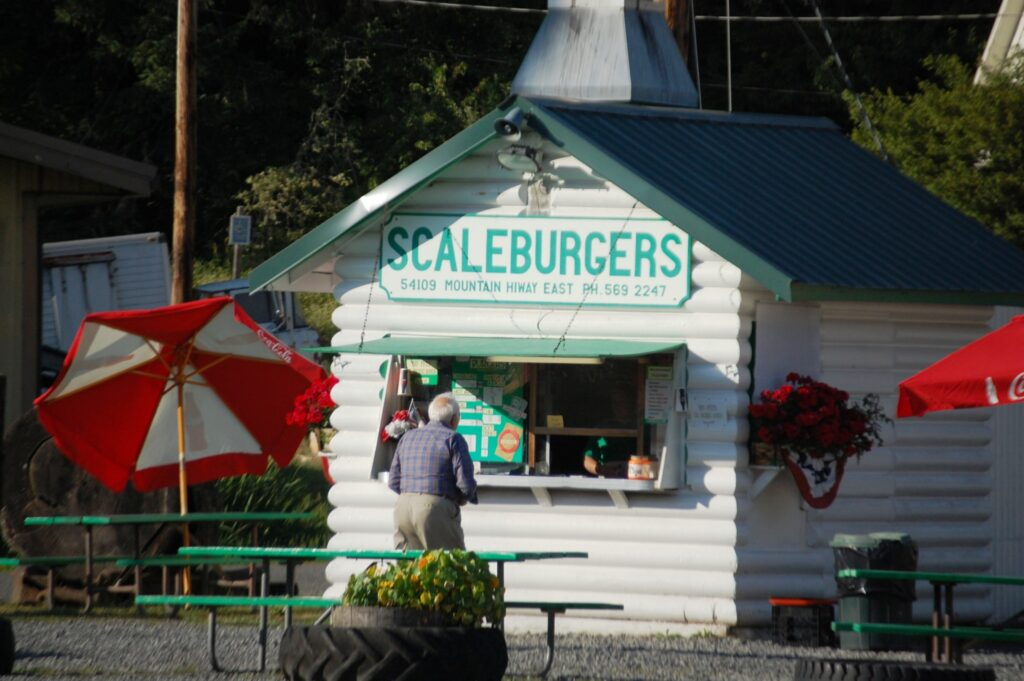 Scaleburgers, across the street from the Dining Train.