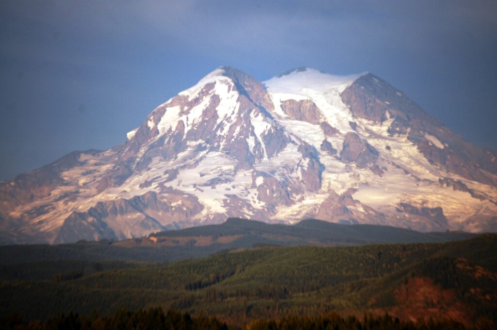 Closeup shot of Mt. Rainier form near Eatonville, WA