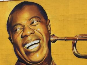 Detail of Louis Armstrong mural in Lexington's East Side