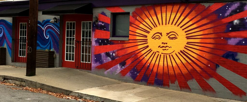 Sunburst Wall at Mellow Mushroom Pizza in Lexington